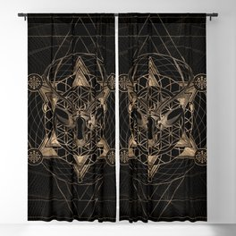Deer in Sacred Geometry Composition - Black and Gold Blackout Curtain