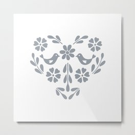 Silver heart shaped floral and birds Metal Print