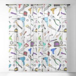 Fun Cartoon Tools Hardware Illustration Pattern Sheer Curtain
