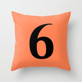 6 (BLACK & CORAL NUMBERS) Throw Pillow