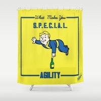 fallout Shower Curtains featuring Agility S.P.E.C.I.A.L. Fallout 4 by sgrunfo