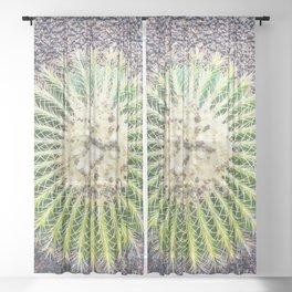 Round Green Cactus Sheer Curtain