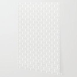 Simply Mid-Century Retro Gray on White Wallpaper