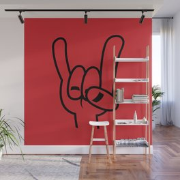 Heavy Metal Devil Horns Black Line Wall Mural