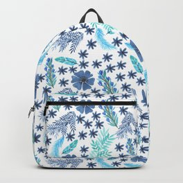 Watercolour Blu Leaves and Flowers Backpack