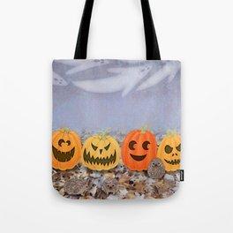 halloween hedgehogs, pumpkins, and ghost clouds Tote Bag