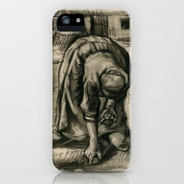 Vincent Van Gogh Peasant Woman Planting Potatoes iPhone Case
