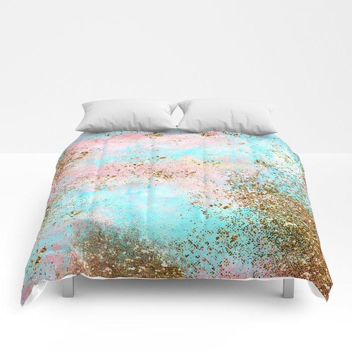 Pink and Gold Mermaid Sea Foam Glitter Comforters