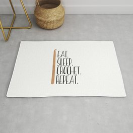 Eat Sleep Crochet Repeat Rug