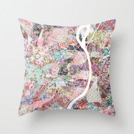Saint Louis map flowers Throw Pillow
