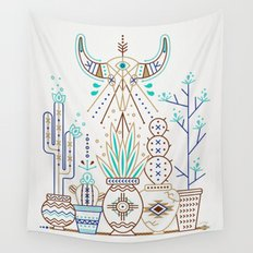 Santa Fe Garden – Turquoise & Brown Wall Tapestry