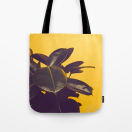 Mid Century Modern Yellow Background Color Pop Minimalist Plant Leaves Tote Bag
