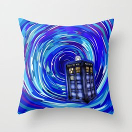 Blue Phone Box with Swirls Throw Pillow