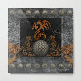 Awesome tribal dragon made of metal Metal Print