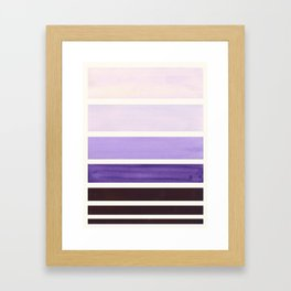Purple Minimalist Mid Century Modern Color Fields Ombre Watercolor Staggered Squares Framed Art Print