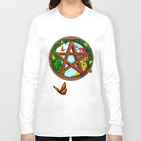 pagan Long Sleeve T-shirts featuring Oasis Pagan Folk Art by BohemianBound