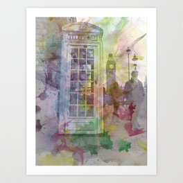 Big Ben and Telephone Booth  Art Print