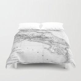 Vintage Map of Costa Rica (1903) BW Duvet Cover