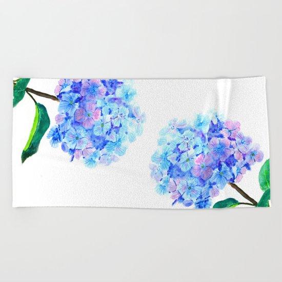 blue purple hydrangea Beach Towel