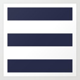 NAVY & WHITE STRIPE Art Print