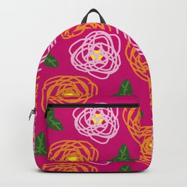 Bright pink floral Backpack