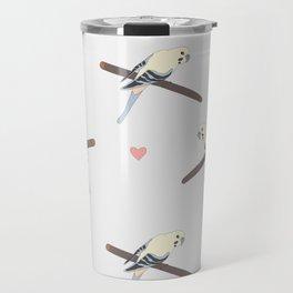 Seamless hand drawn pattern with beautiful couple of birds Travel Mug
