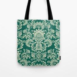 Damask vintage in green Tote Bag