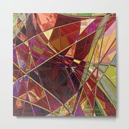 Mosaic- Abstract Stained Glass  Metal Print