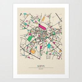 Colorful City Maps: Sofia, Bulgaria Art Print