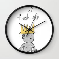 fresh prince Wall Clocks featuring the prince of fresh air by thunderbloke!