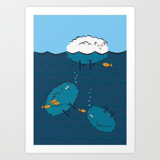 Sinking Sheep Art Print