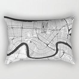New Orleans Map Gray Rectangular Pillow