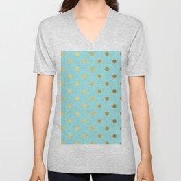 Gold polka dots on aqua background - Luxury turquoise pattern Unisex V-Neck