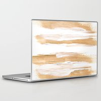 the strokes Laptop & iPad Skins featuring Golden Strokes by Caitlin Workman