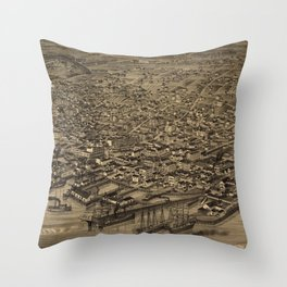 Vintage Pictorial Map of Seattle (1884)  Throw Pillow