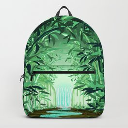 Fluorescent Waterfall on Surreal Bamboo Forest Backpack