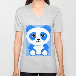 Blue Panda Art Cute Kids Bedroom Decor Unisex V-Neck