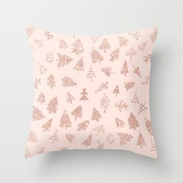 Modern rose gold glitter Christmas trees pattern on blush pink Throw Pillow
