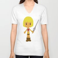 he man V-neck T-shirts featuring MUSCLOR AKA HE-MAN by Christophe Chiozzi