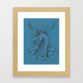 Dragon on blue Framed Art Print