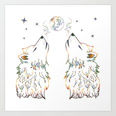 Two wolves howling Art Print