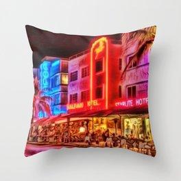 Nighttime South Beach Starlite & Colony Hotels Miami landscape by Jeanpaul Ferro Throw Pillow