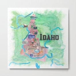 USA Idaho State Illustrated Travel Poster Favorite Map Metal Print