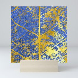 Blue gold leaf details Mini Art Print