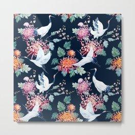 Vintage Japanese crane birds illustration pattern Metal Print