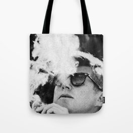 Cigar Smoker Cigar Lover JFK Gifts Black And White Photo Tote Bag