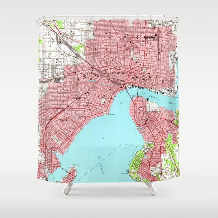 Vintage Map of Jacksonville Florida (1950) Shower Curtain