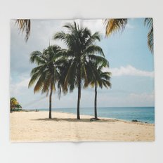 Beach Side Happy Place Throw Blanket