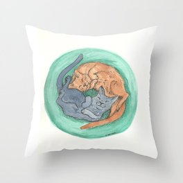 Lazy Cats - Watercolor Throw Pillow