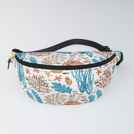 Coral Reef Watercolor Pattern- Teal Fanny Pack